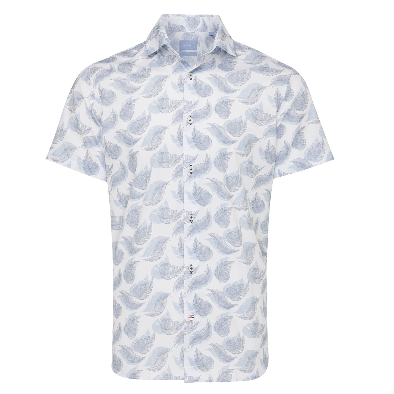 Morriz | Shirt leaves print blue