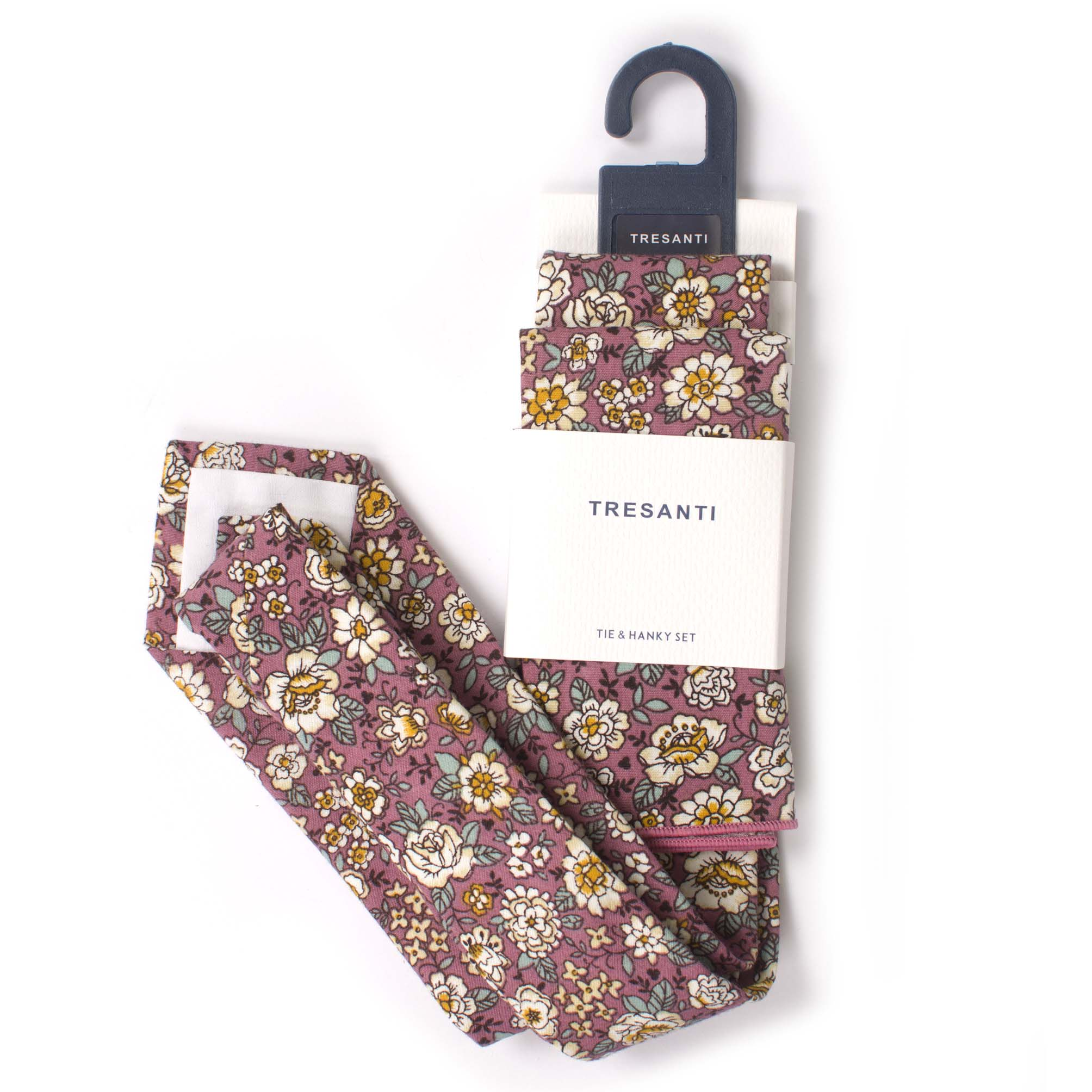 Cotton set tie & hanky  flower design