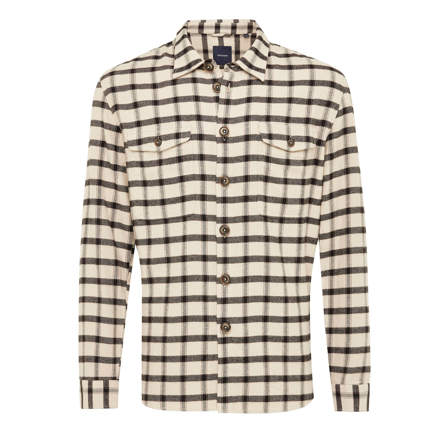 EMMETON | Shirt with button closure, ivory with black check