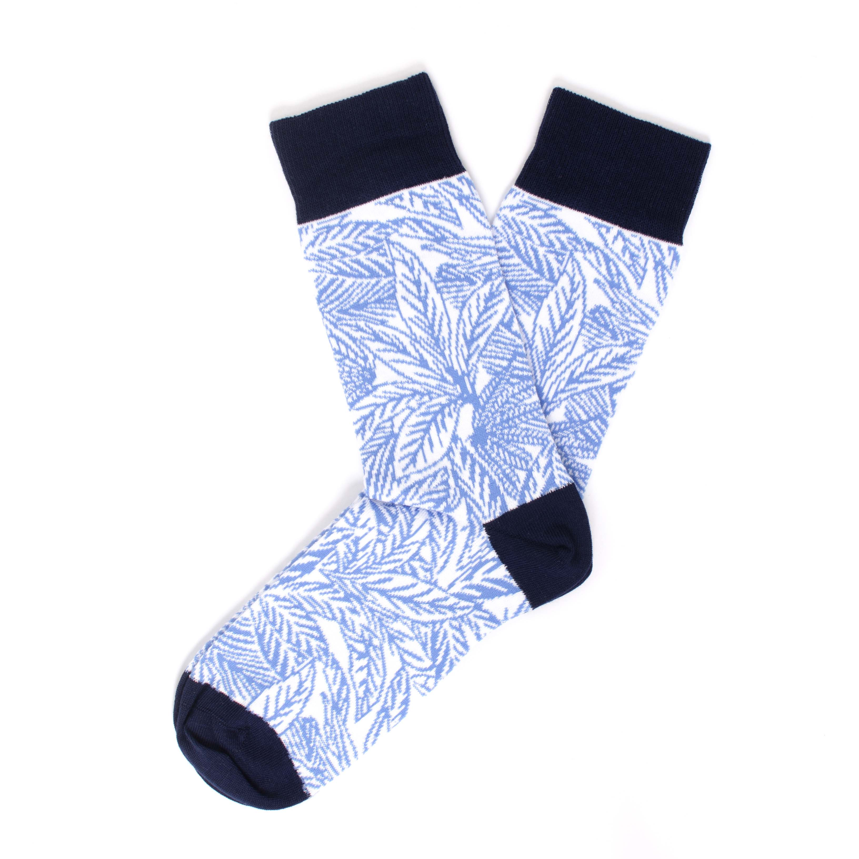 White socks with leaves design