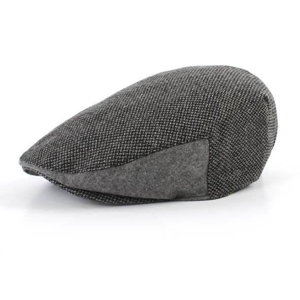Flat cap, black/grey