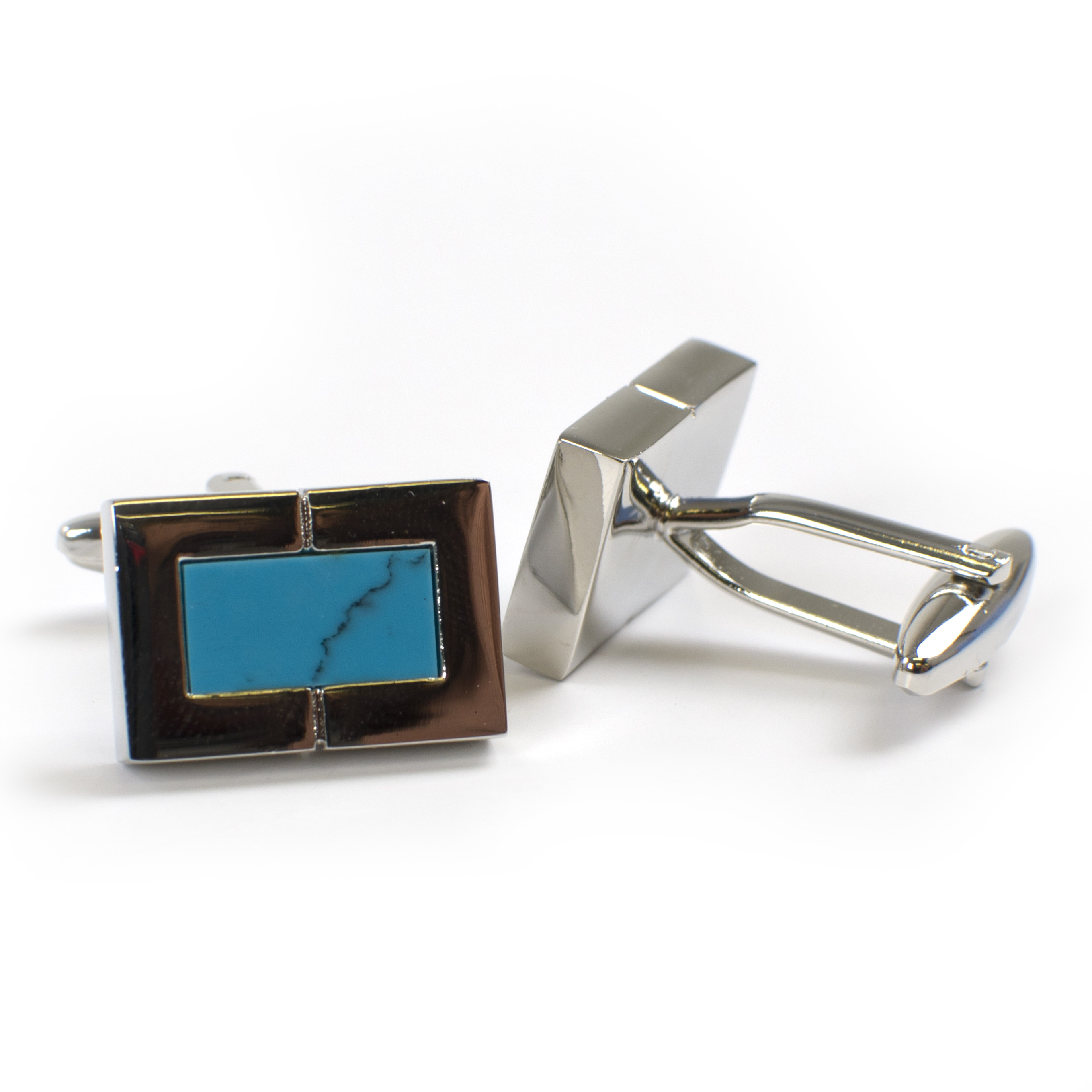 Cufflinks with turquoise inlay