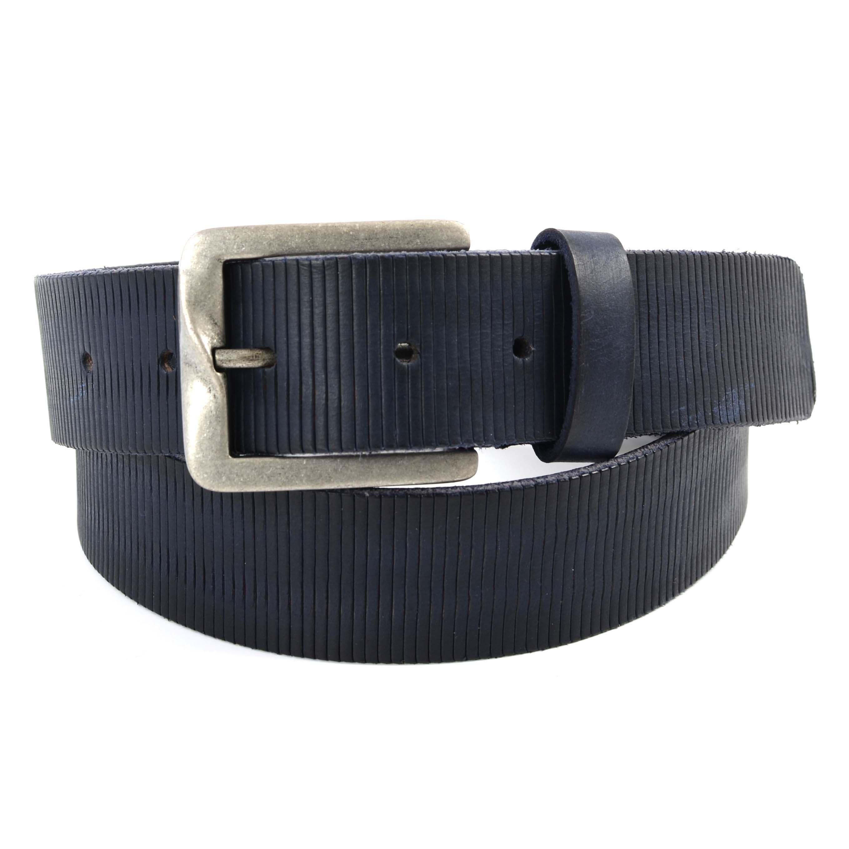 Belt navy leather textured