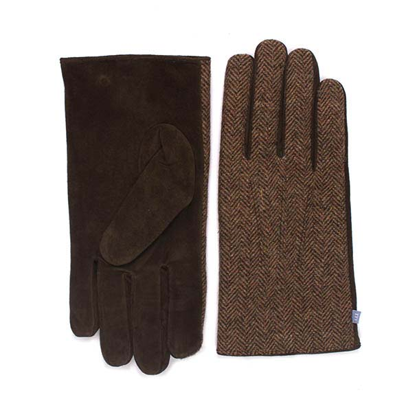 Beige gloves with herringbone fabric and brown leather