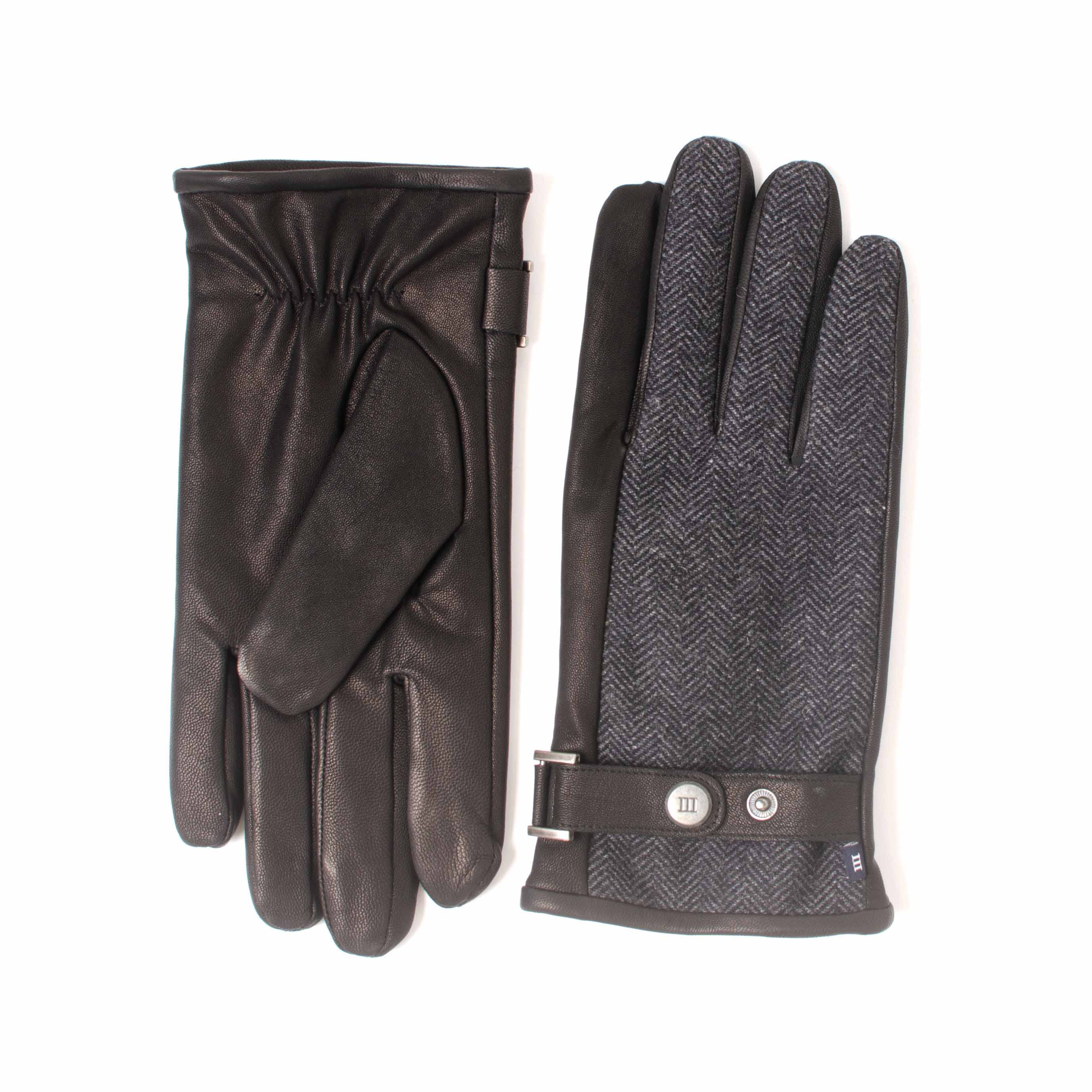 EDDIS | Black gloves made of leather and fabric with a herringbone pattern and button closure