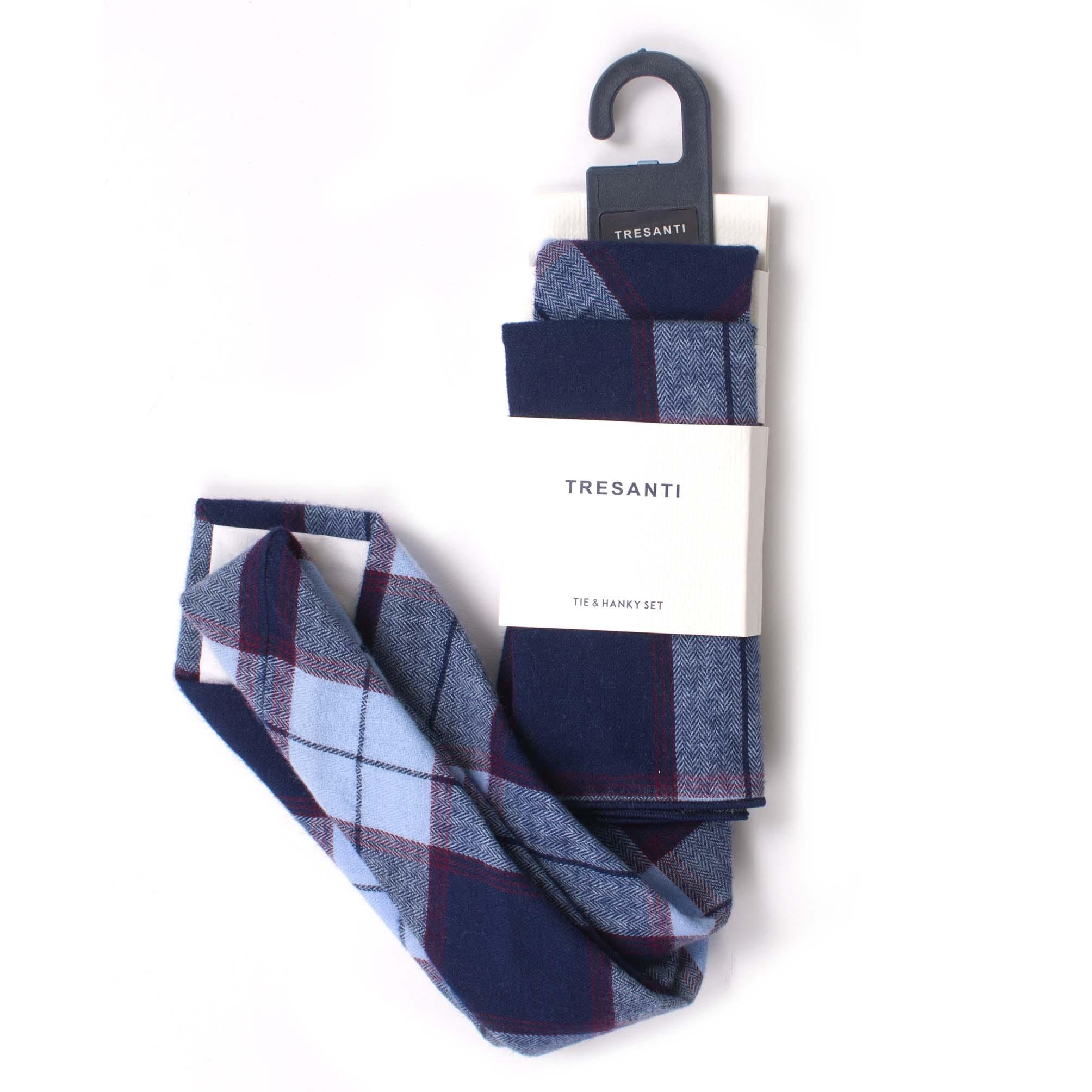 Cotton set tie & hanky check design