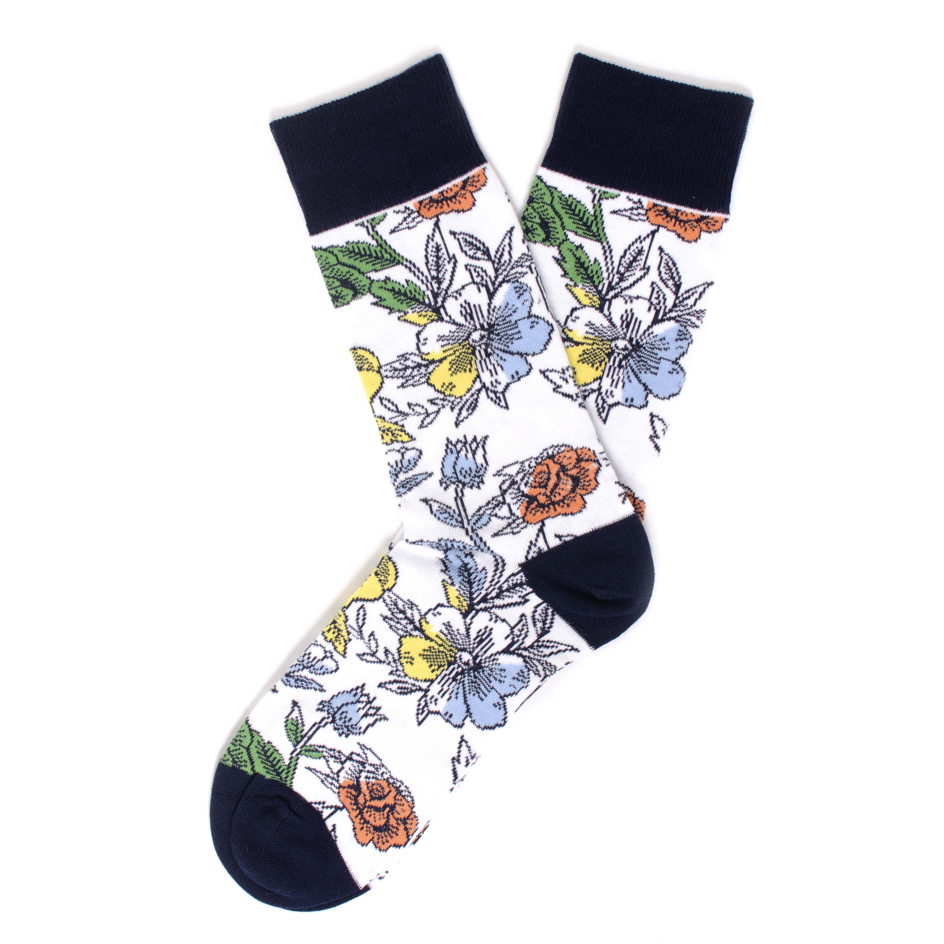 Socks with multicolour flower dessin