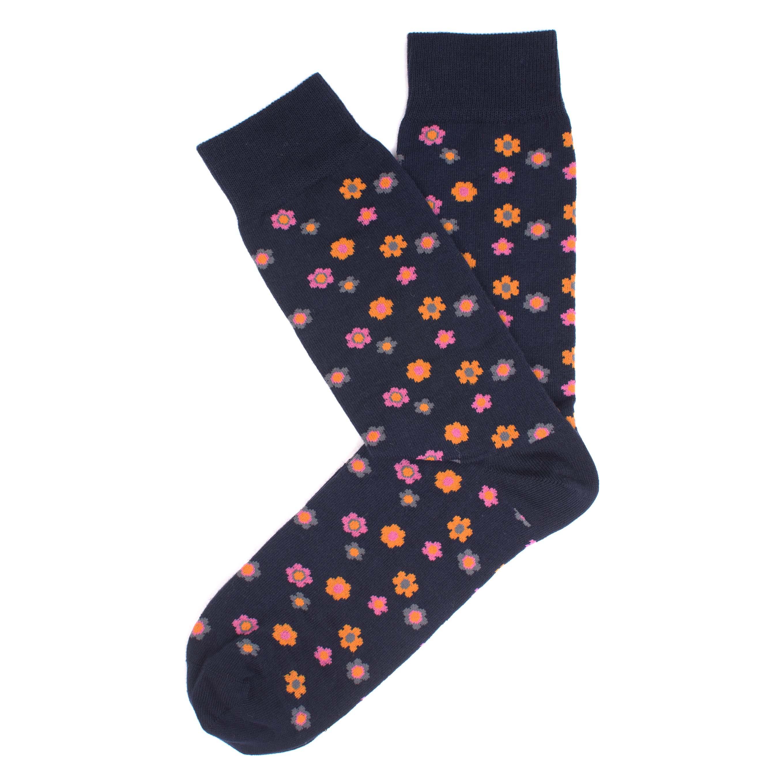 Socks navy, orange/fuchsia/melange grey small flower design