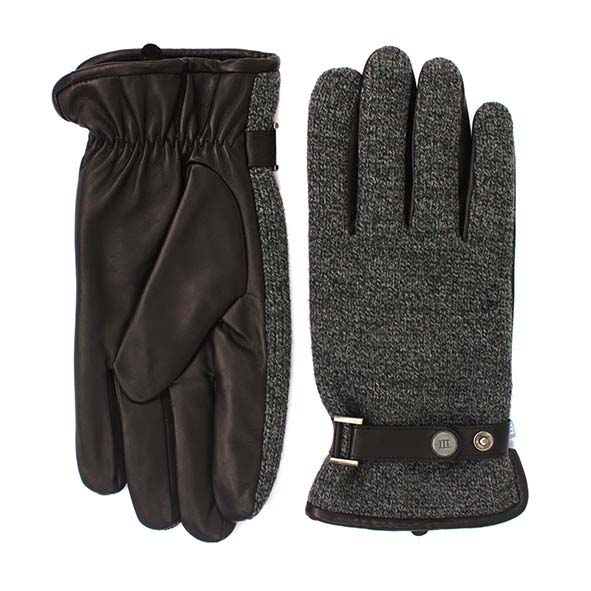 Grey gloves with black leather and knitted back