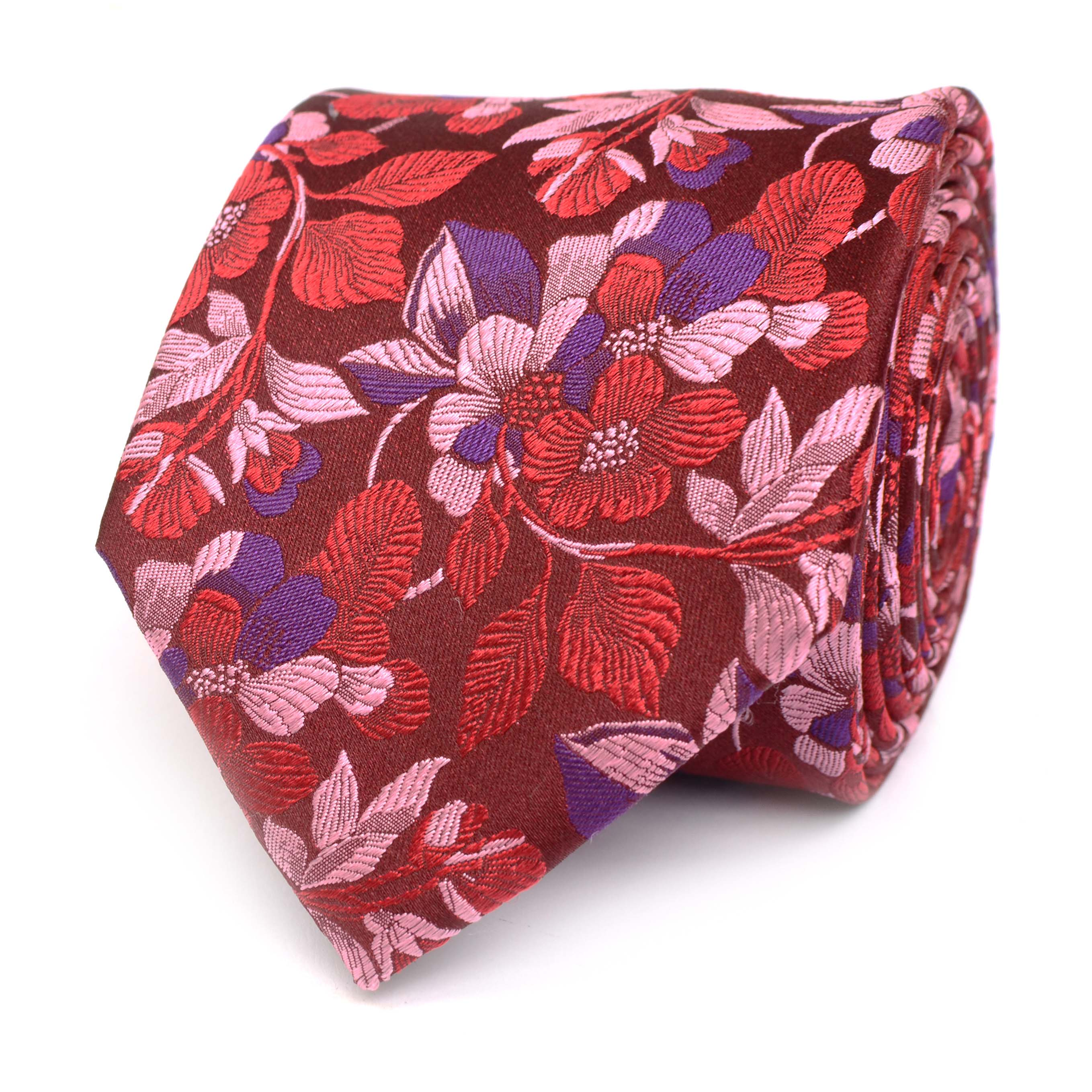 Tie with multi flower design red