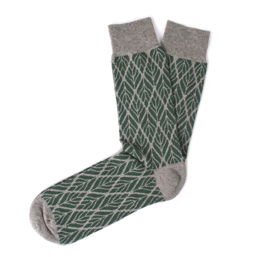Socks cotton, leaf design green