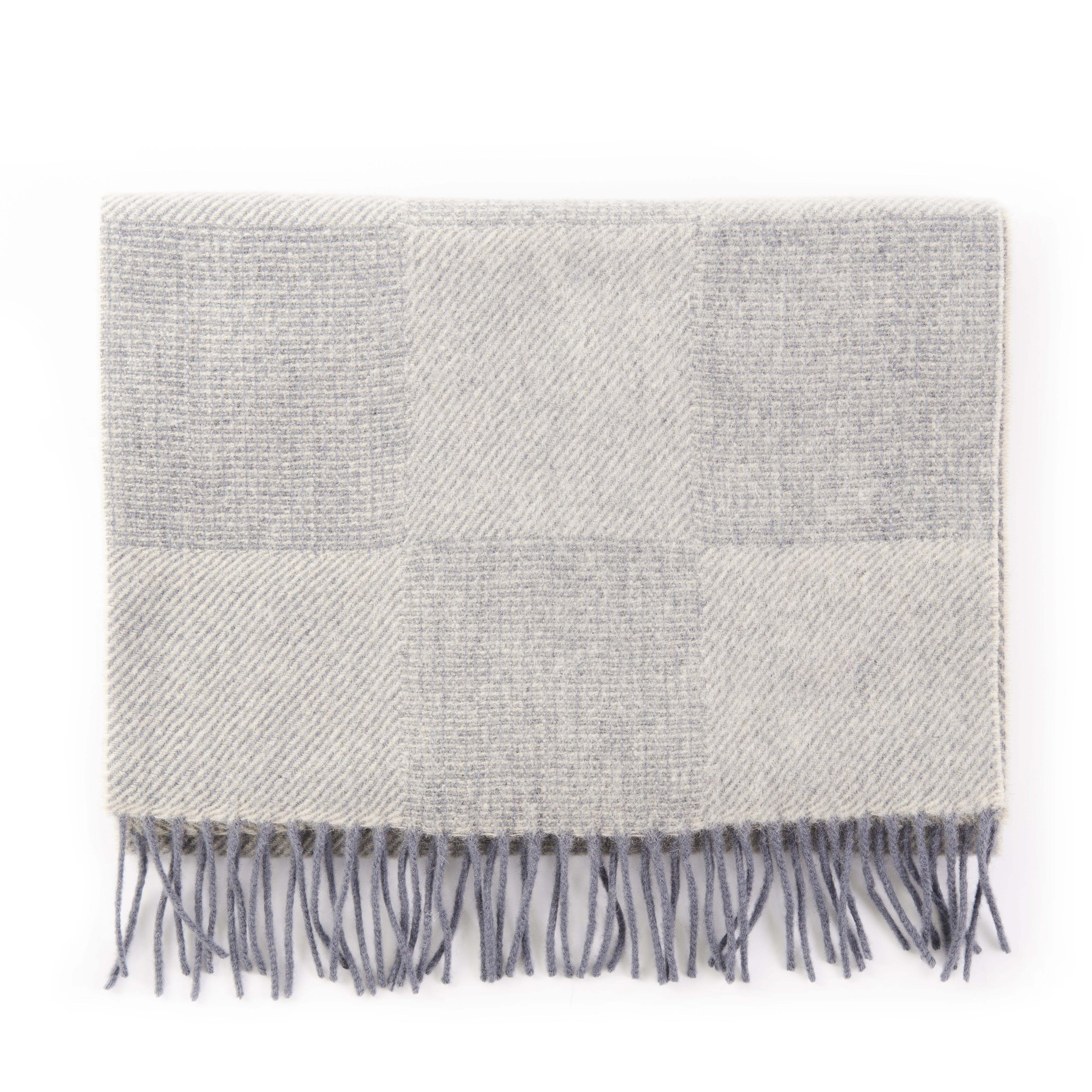 Scarf checked silver grey, soft Mongolian virgin wool