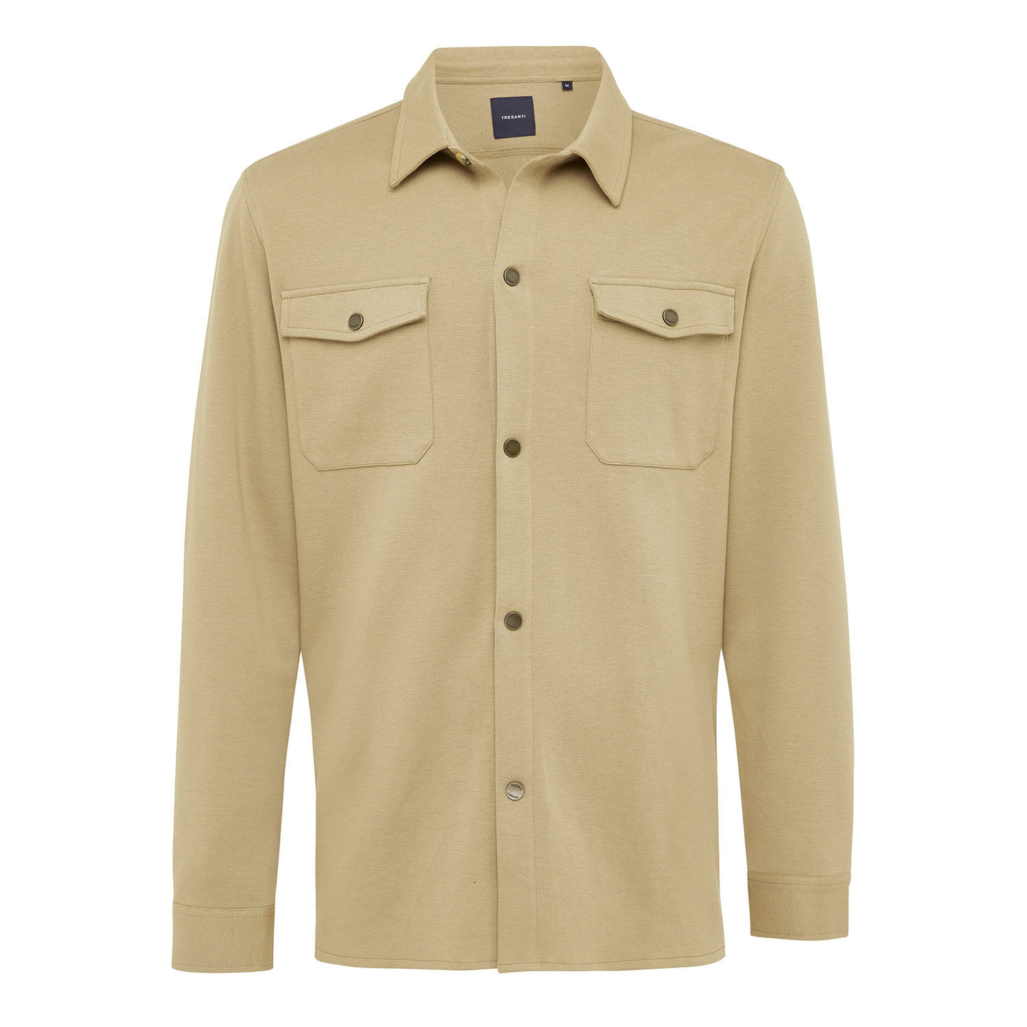 ELEVEN | Jersey overshirt with button closure beige
