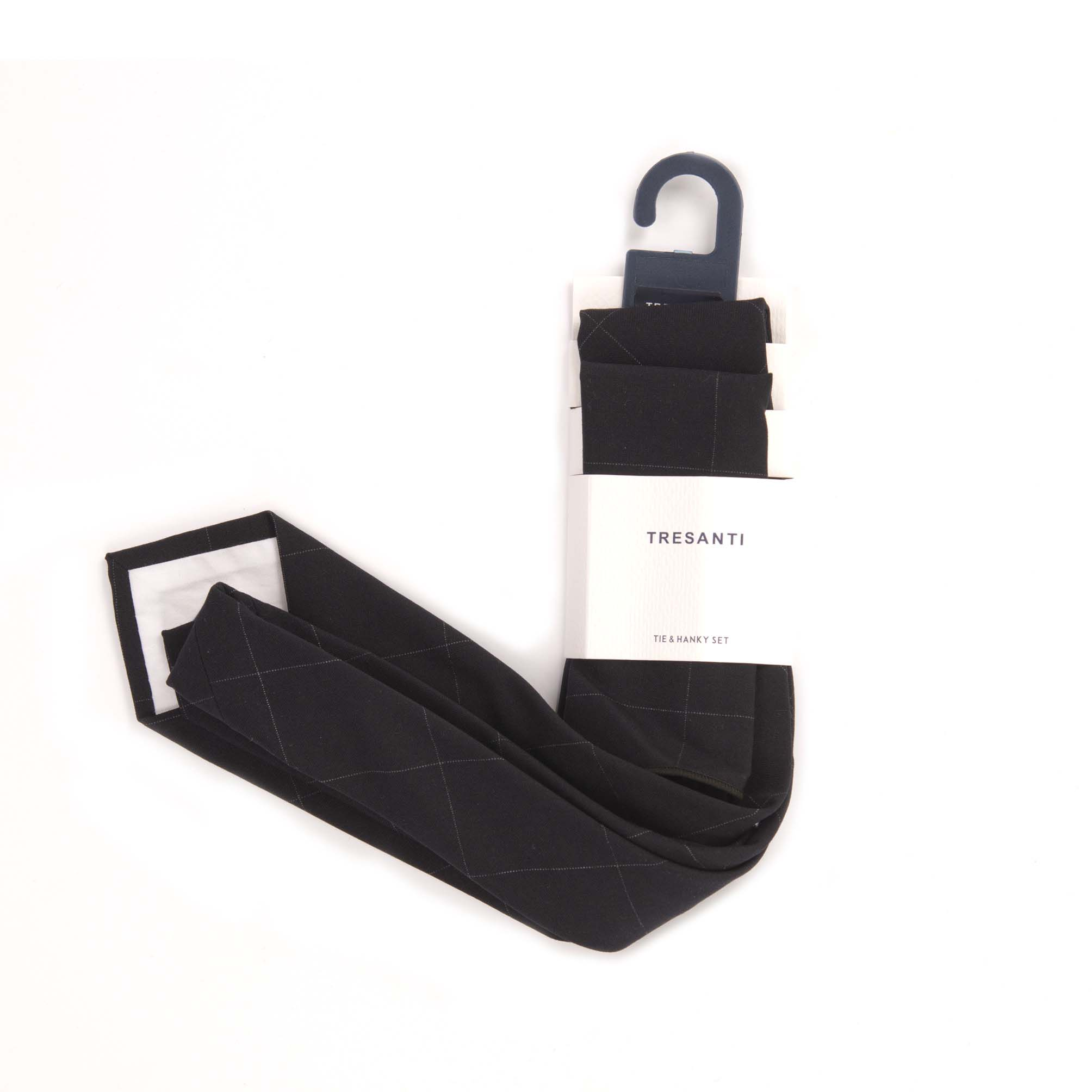Tie & hanky set black with diamonds